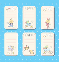 Set cards for newborn baby vector