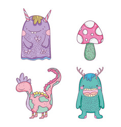 set monsters with dragon creatures and fungus vector image