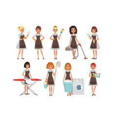 set of housewives with different equipment vector image