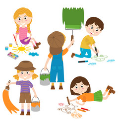 Set of isolated children artist part 1 vector