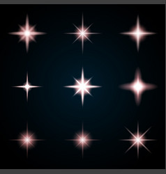 set of various starry flare elements vector image