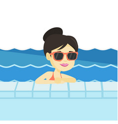 Smiling young woman in swimming pool vector