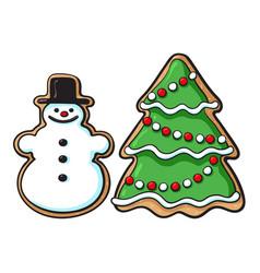 snowman christmas tree glazed gingerbread cookies vector image