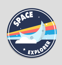 space explorer moon circle frame background vector image