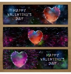 Space heart banners vector image