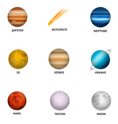 space planet icon set realistic style vector image