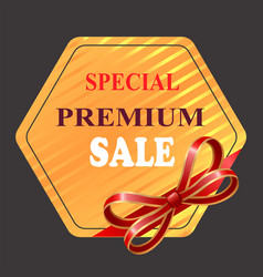 special premium sale banner with red ribbon bow vector image