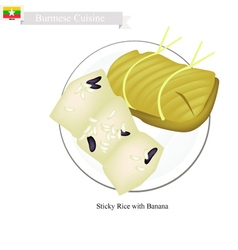 Steamed Sticky Rice with Banana vector image