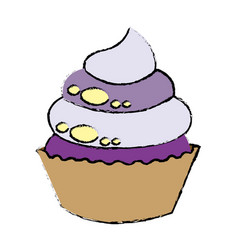 Sweet cupcake dessert party celebration vector