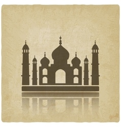Taj Mahal on old background vector