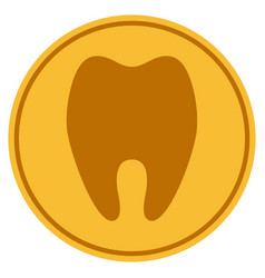 Tooth gold coin vector