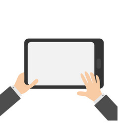 two businessman hands holding genering tablet pc vector image