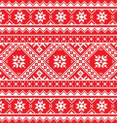 Ukrainian Slavic folk art knitted red and white vector image