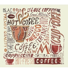 Watercolor coffee poster Typography background vector image