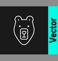 white line bear head icon isolated on black vector image