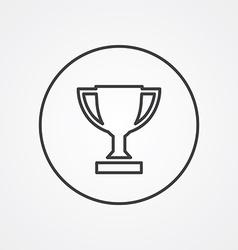 Winner cup outline symbol dark on white background vector