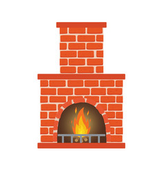 winter interior bonfire classic fireplace made of vector image