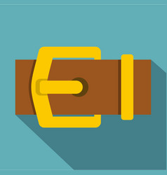 Yellow metal belt buckle icon flat style vector
