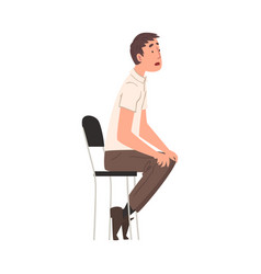 young man sitting on chair person having job vector image
