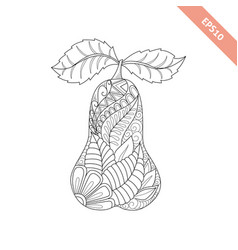 Cartoon ornate pear coloring book vector