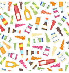cartoon sauces bottle seamless pattern background vector image