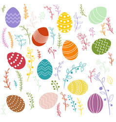 easter eggs and floral elements vector image vector image