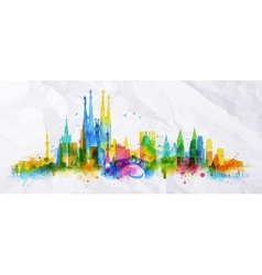 Silhouette overlay city vector image vector image
