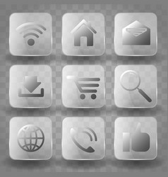 square application transparent glass buttons or vector image vector image