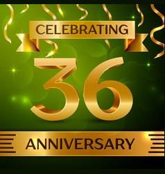 thirty six years anniversary celebration design vector image