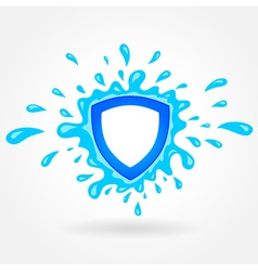 Clean water emblem splash drops liquid vector