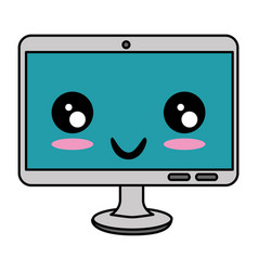 computer display kawaii character vector image