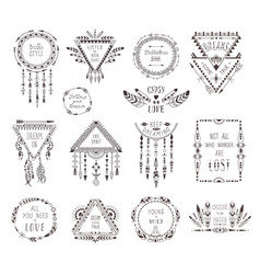 hand drawn boho style frames and decorations vector image vector image