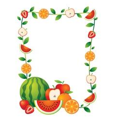 Mixed Fruits Border Frame vector image vector image