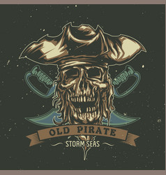 poster design with dead pirate in hat vector image