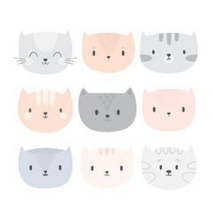 set of cute cartoon cats funny doodle animals vector image vector image