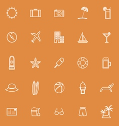 Summer line icons on orange background vector image vector image