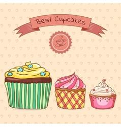 Beautiful card best cupcakes vector image