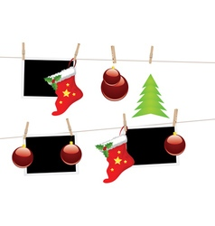 Christmas stockings on rope vector