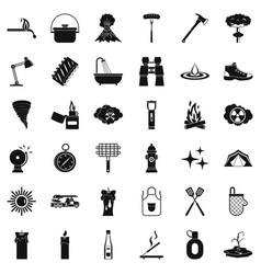emergency icons set simle style vector image vector image
