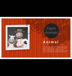 Farm animal background with cow vector image