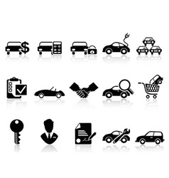 car dealership icons set vector image vector image