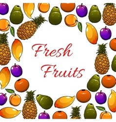 Fresh tropical fruits poster vector