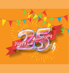 happy 25th anniversary glass bulb numbers set vector image vector image