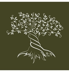 Olive tree outline curl silhouette icon vector image vector image