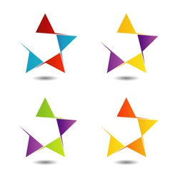 Set of colorful star logos vector image