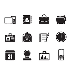 Silhouette Web Applications and Office icons vector image