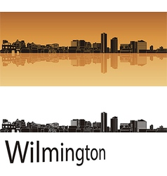Wilmington skyline in orange background vector image vector image