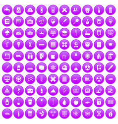 100 chemistry icons set purple vector