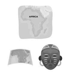 African safari monochrome icons in set collection vector