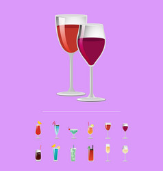 alcohol drinks flat icons glass cocktails vector image